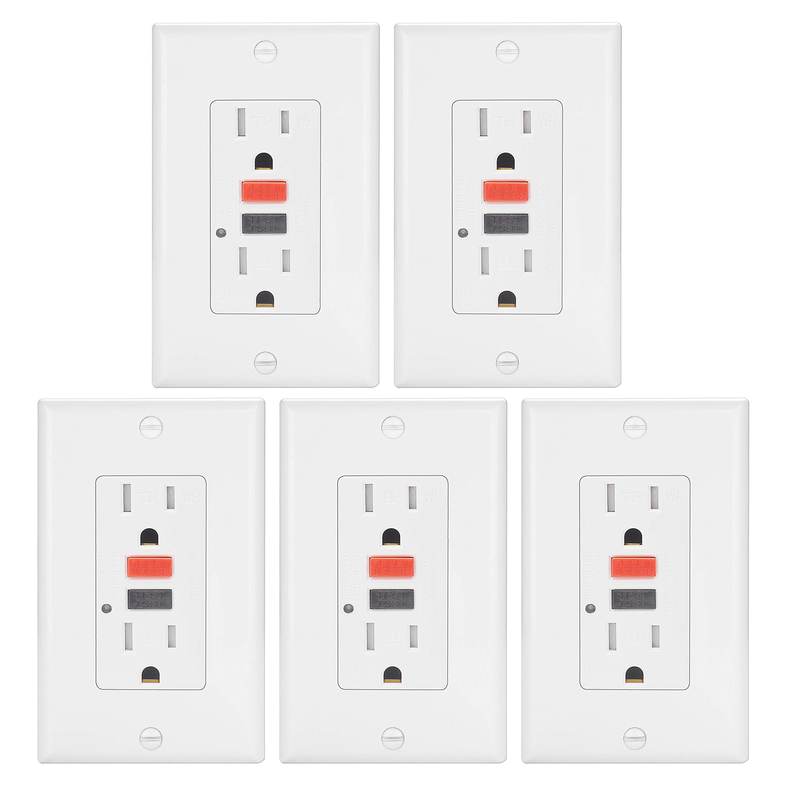 5 Pack - 15A Weather Resistant GFCI Outlet by ELECTECK, Tamper Resistant GFI Receptacle with LED Indicator, Decorator Wall Plates and Screws Included, Residential and Commercial, ETL Certified, White