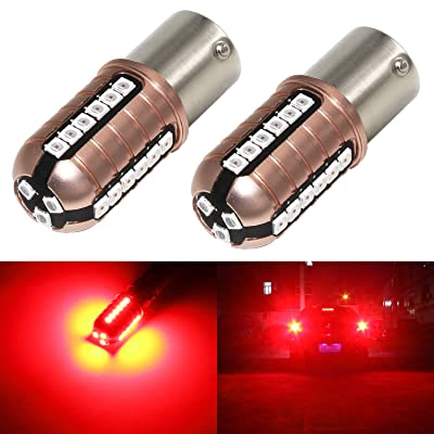 Phinlion 1156 LED Red Brake Light Bulb Super Bright 3000 Lumens 3030 27-SMD BA15S 1003 1156 7506 LED Bulbs for Turn Signal Brake Tail Stop Lights: Automotive