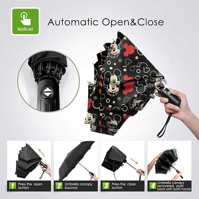 Windproof Travel Umbrella Merry Christmas Mickey Compact Folding Umbrella Automatic Open//Close