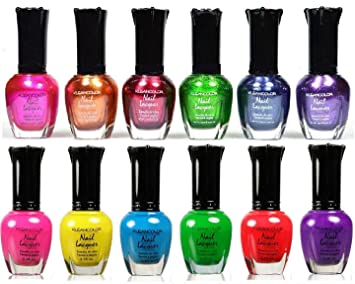 Amazon.com : 12 KLEANCOLOR NAIL POLISH, 6 METALLIC + 6 NEON BEST ...