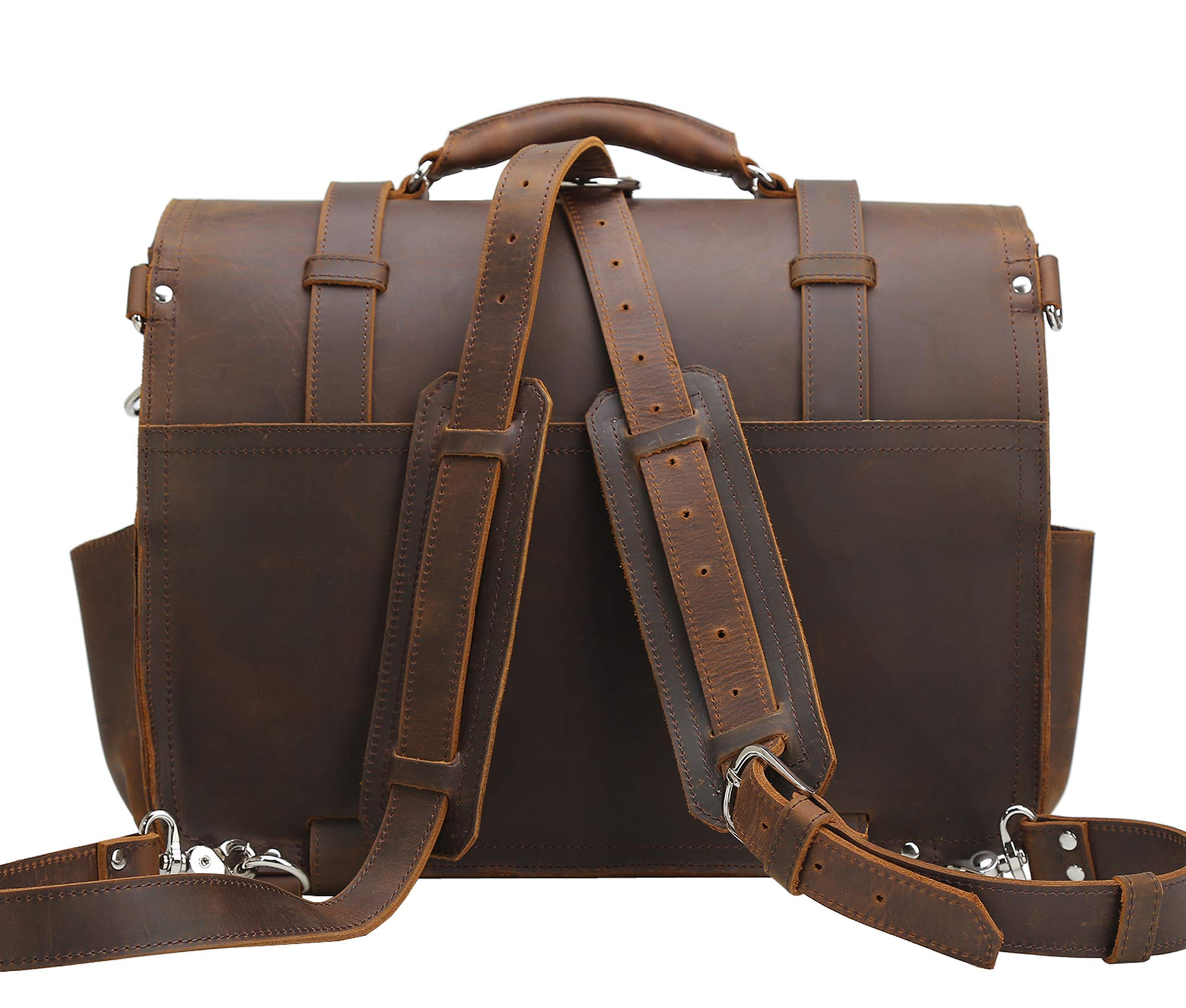 Texbo Men's 16 Inch Thick Cowhide Leather Briefcase Laptop Shoulder Messenger Bag Tote by Texbo (Image #5)