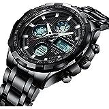 Relojes de Hombre Digital Relojes de Pulsera Militar Lujo Negro Deportivo Impermeable LED Grandes de Acero Inoxidable Relojes Hombre Multifuncion Alarma Cronógrafo Calendario