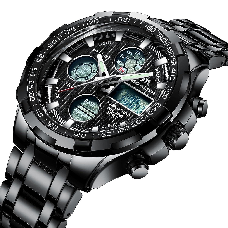 b485941ef423 Relojes de Hombre Militar Digital Negro Relojes Grandes de Pulsera  Deportivo Impermeable Lujo Cronógrafo Día Fecha Calendario LED Relojes de  Acero ...