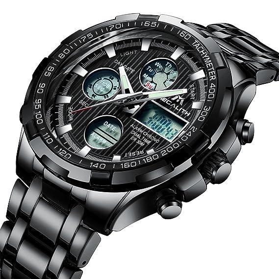 Relojes de Hombre Digital Relojes de Pulsera Militar Lujo Negro Deportivo Impermeable LED Grandes de Acero Inoxidable Relojes Hombre Multifuncion Alarma ...