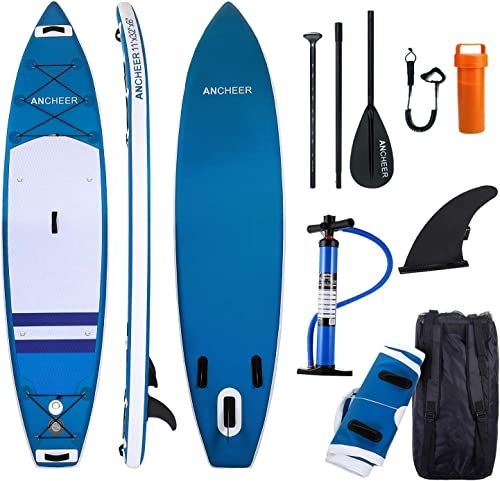 ANCHEER Inflatable Stand Up Paddle Board, 11 Double Layer Touring iSUP, Premium SUP Accessories, Bottom Fin for Paddling, Leash, Hand Pump and Backpack, Non-Slip Deck, Youth Adult SUP