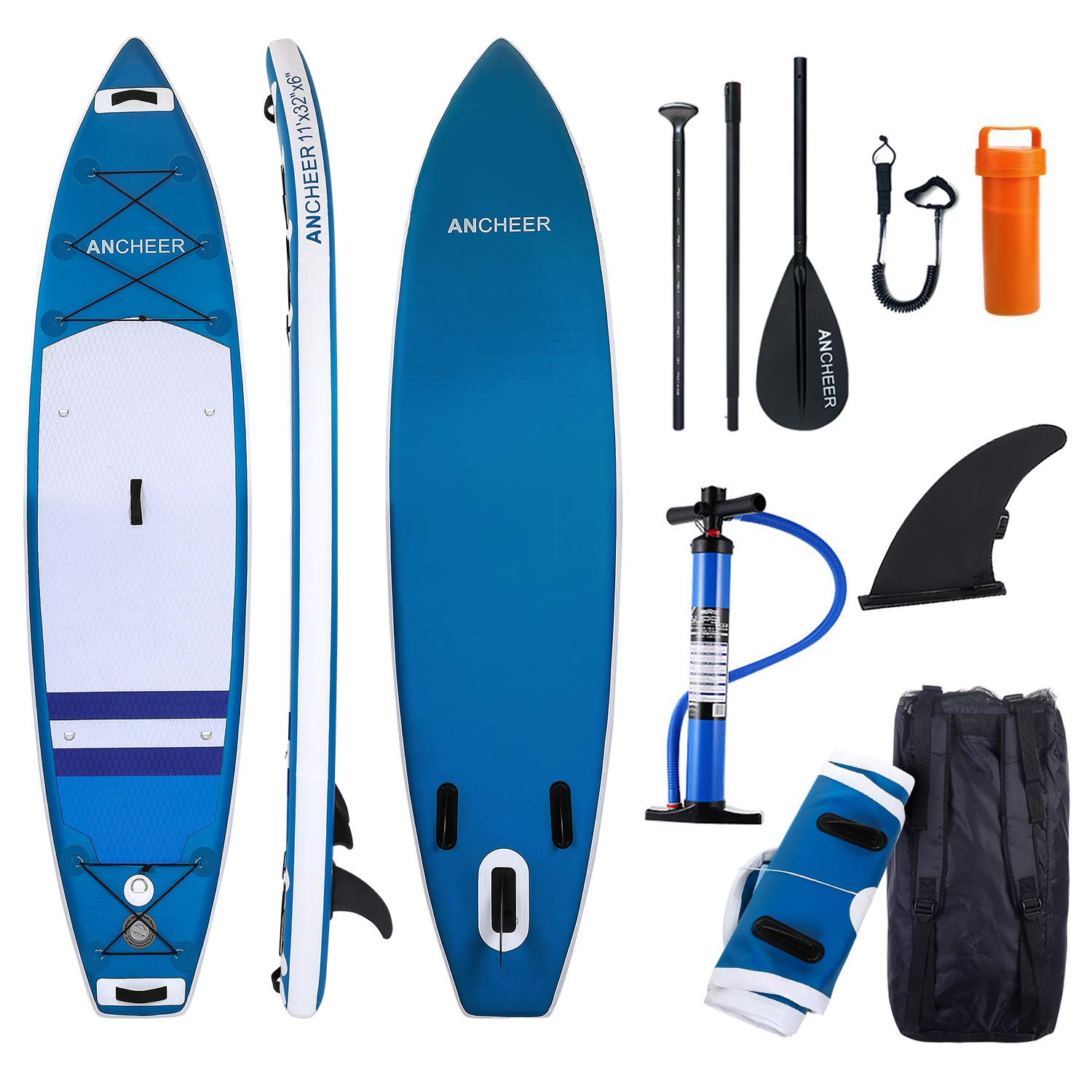 ANCHEER Inflatable Stand Up Paddle Board 10', Non-Slip Deck(6 Inches  Thick), iSUP Boards Package w/Adjustable Paddle, Leash, Hand Pump and  Backpack,