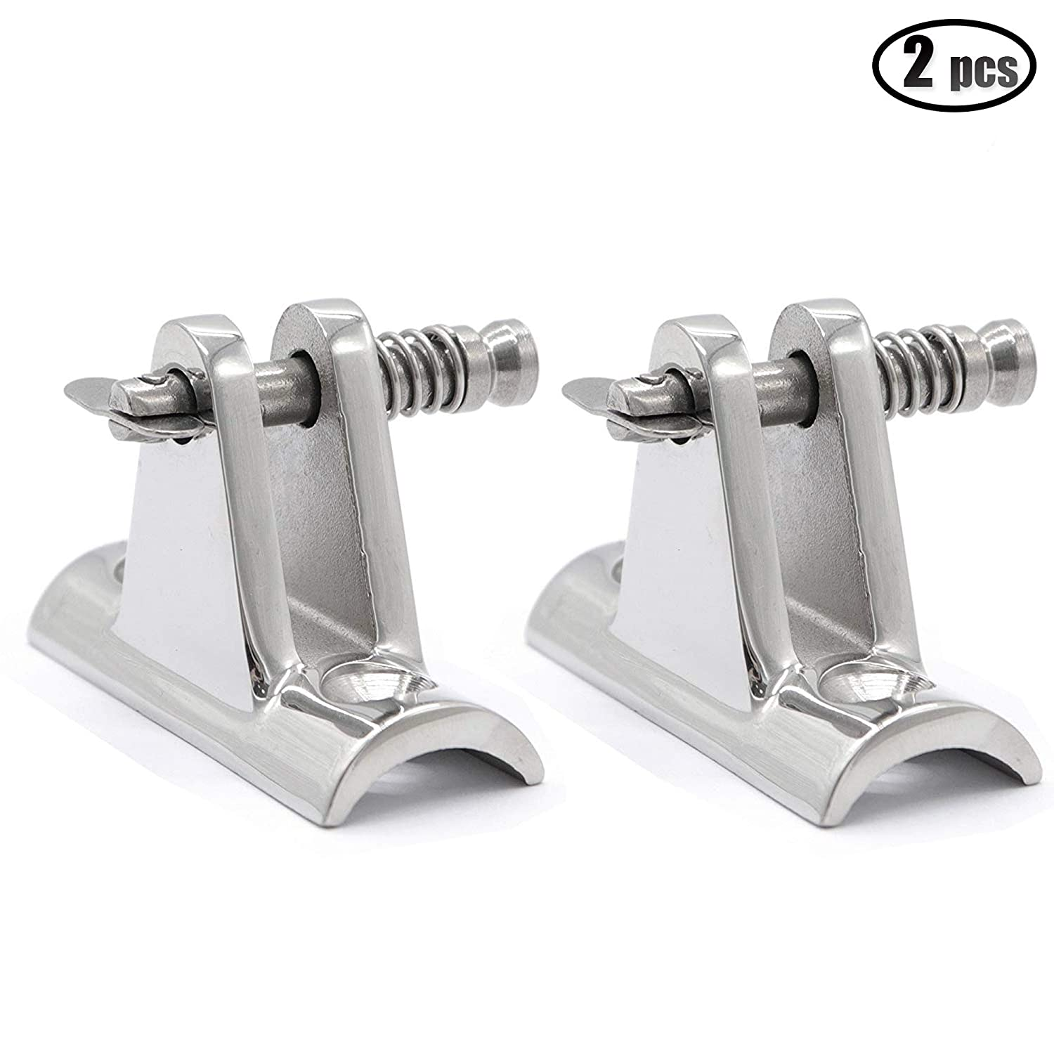 2PCS Boat Bimini Top Deck Hinges with Quick Pins Marine Stainless Steel iztor