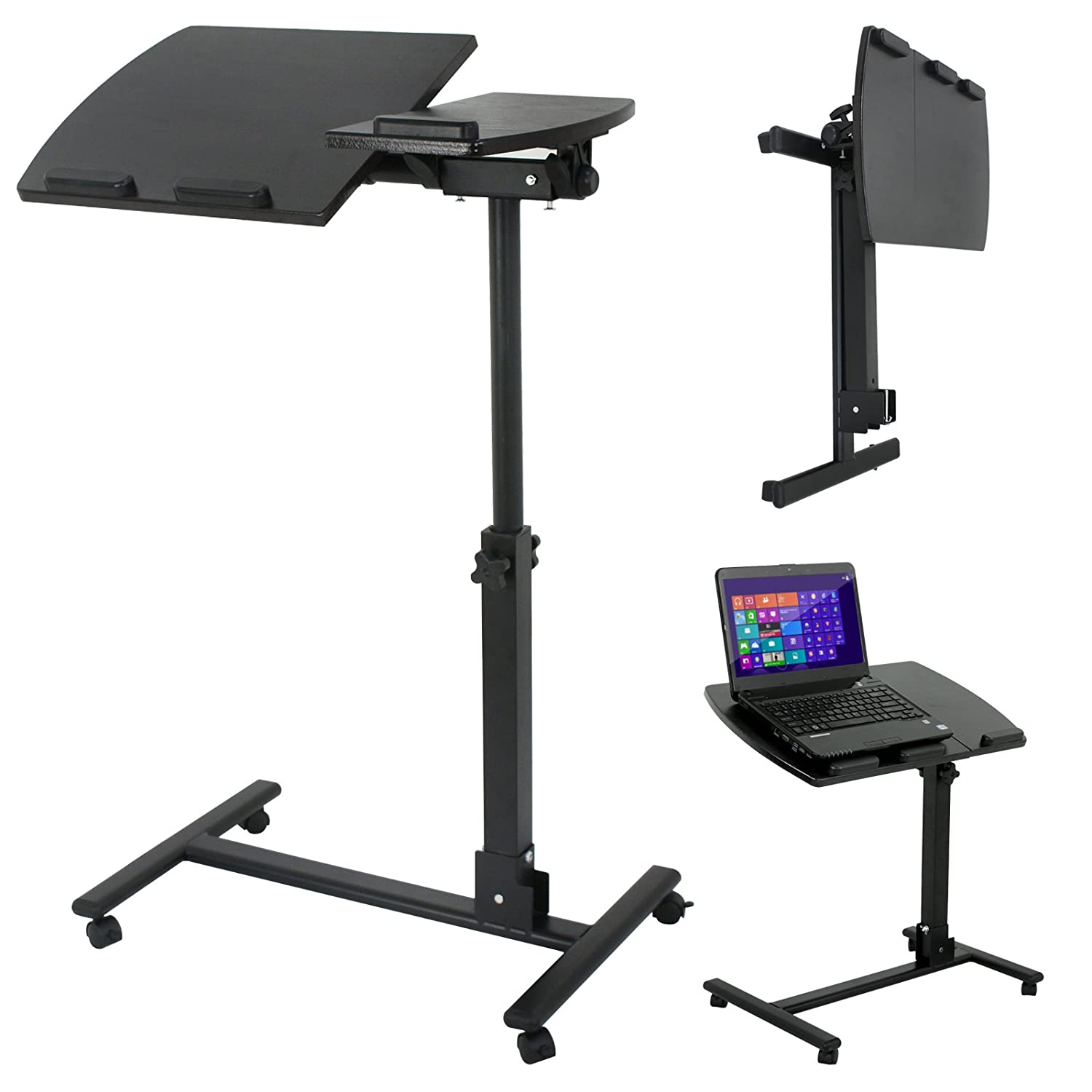 Smartxchoices Angle Height Adjustable Laptop Stand Rolling Desk Cart, Mobile Laptop Computer Holder w/Side Table and Casters - 180° Tilt 360° Swivel