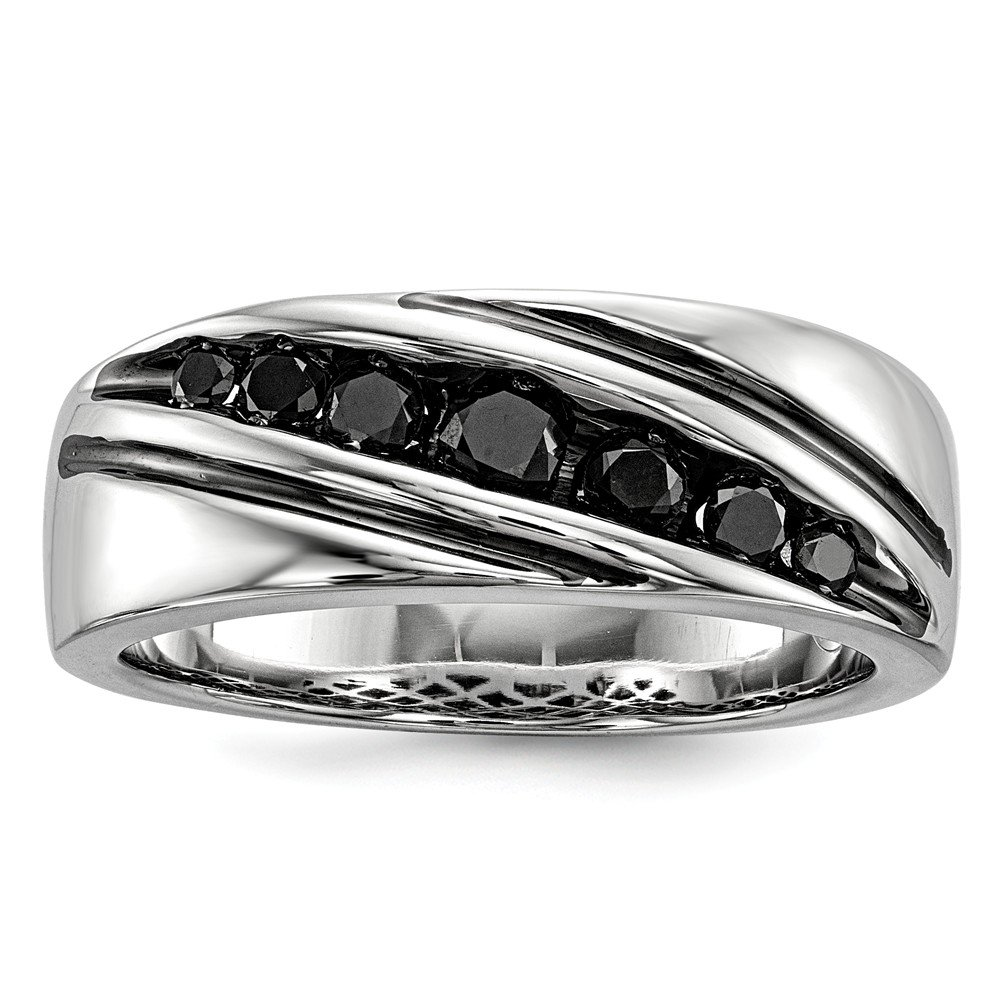 Perfect Jewelry Gift Sterling Silver Black Diamond Mens Band Ring