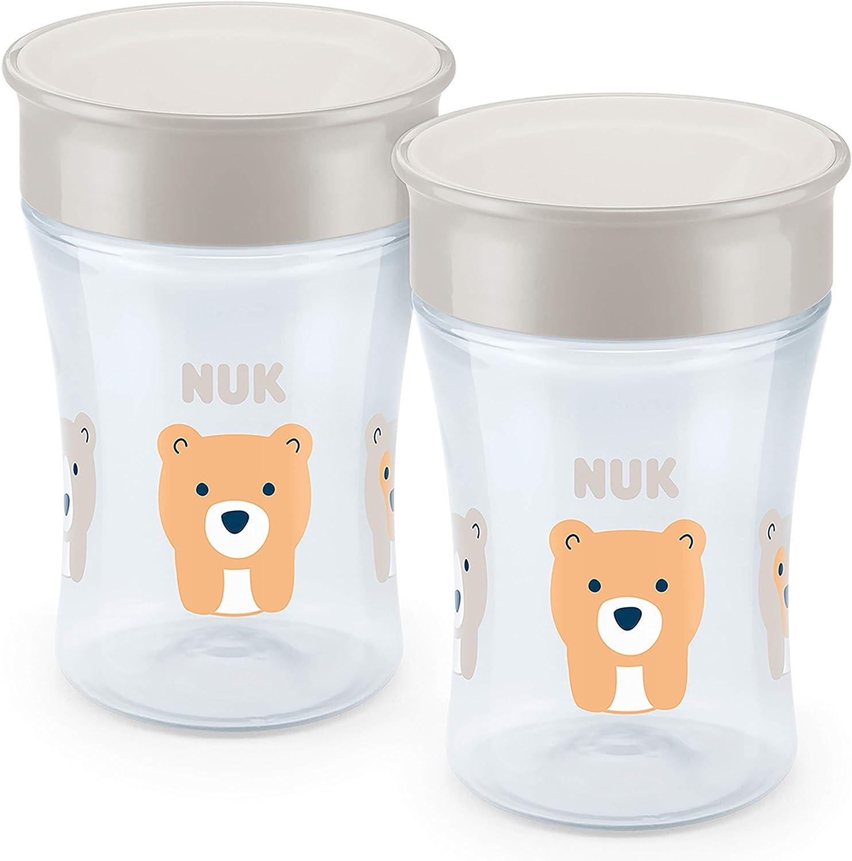 Nuk Magic Cup - Vaso para aprender a beber (2 unidades, borde de 360°, cristal de silicona, antigoteo, sin BPA, 230 ml) beige Oso (gris).