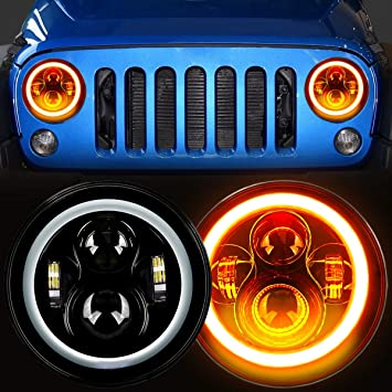 Zmoon 7 Round LED Headlights with 200W High Low Beam White Halo Angel Eye Ring DRL /& Blue Turn Signal Lights for Jeep Wrangler JK LJ CJ Hummer H1 H2 Pair