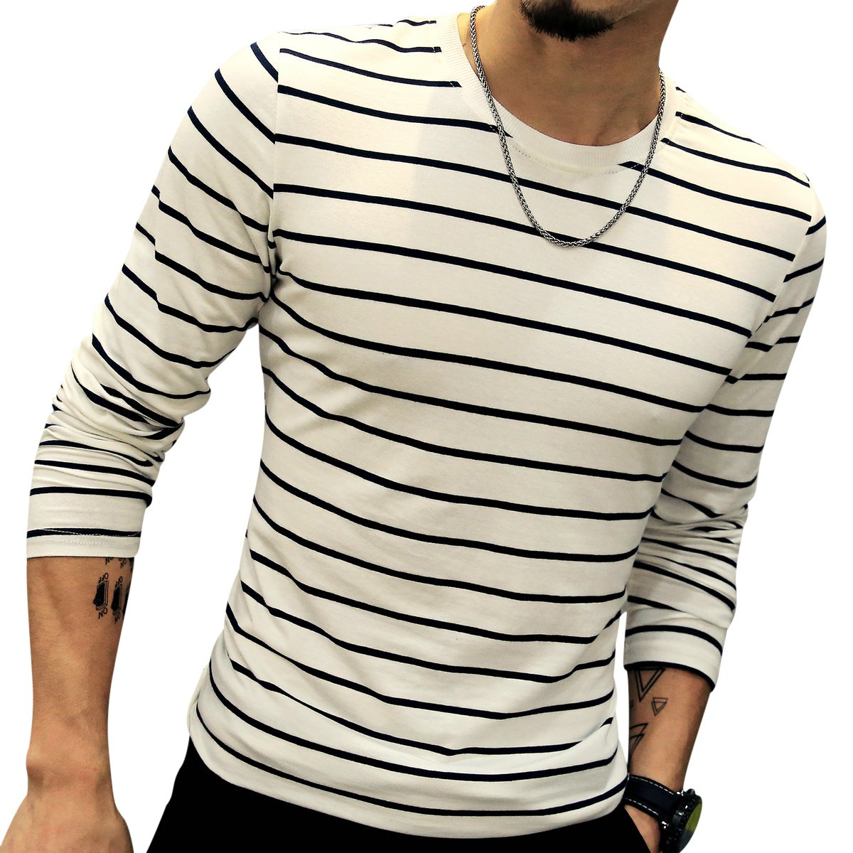 LOGEEYAR Mens Long-Sleeve Cotton Fitted Contrast Color Stitching Stripe Slim T-Shirt (White,M) by LOGEEYAR (Image #1)