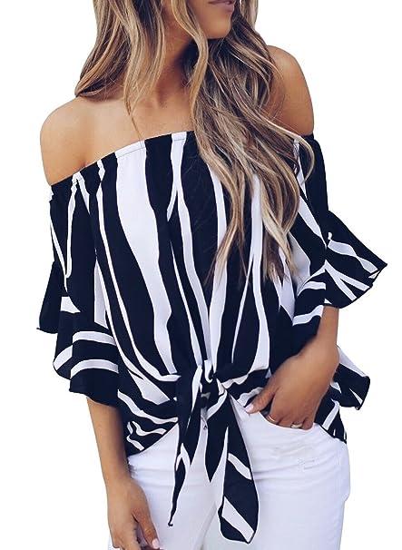 a30c6d2c5f3 Women Off Shoulder White Black Vertical Stripes Ruffles Half Sleeve Blouse S