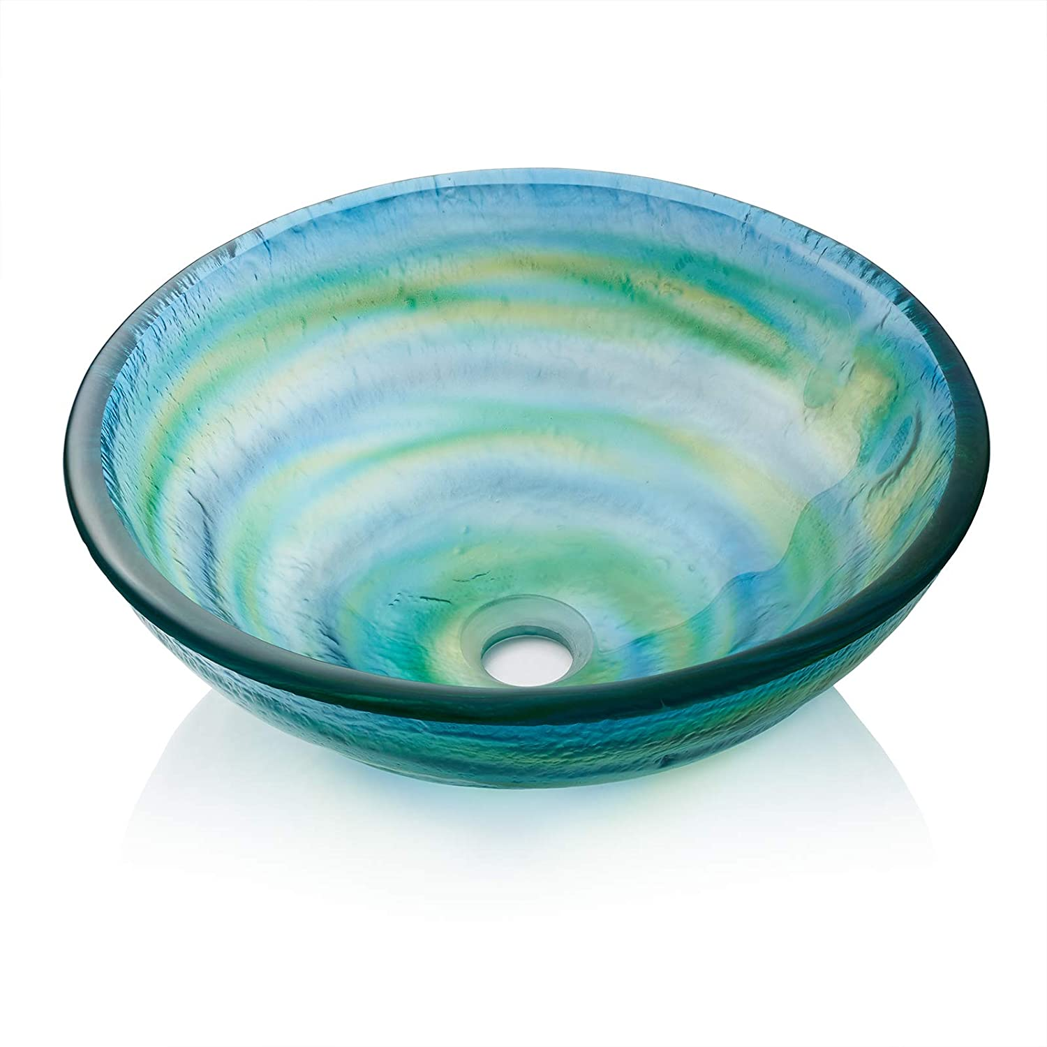 Miligore Modern Glass Vessel Sink – Above Counter Bathroom Vanity Basin Bowl – Round Blue Green