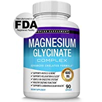 Magnesium Glycinate Complex 600 MG High Absorption 100% DV Chelated - Formulated for Calm, Sleep, Muscle Relaxation & Recovery, Maximum Bioavailability, Vegan for Men Women, 90 Capsules, Toplux