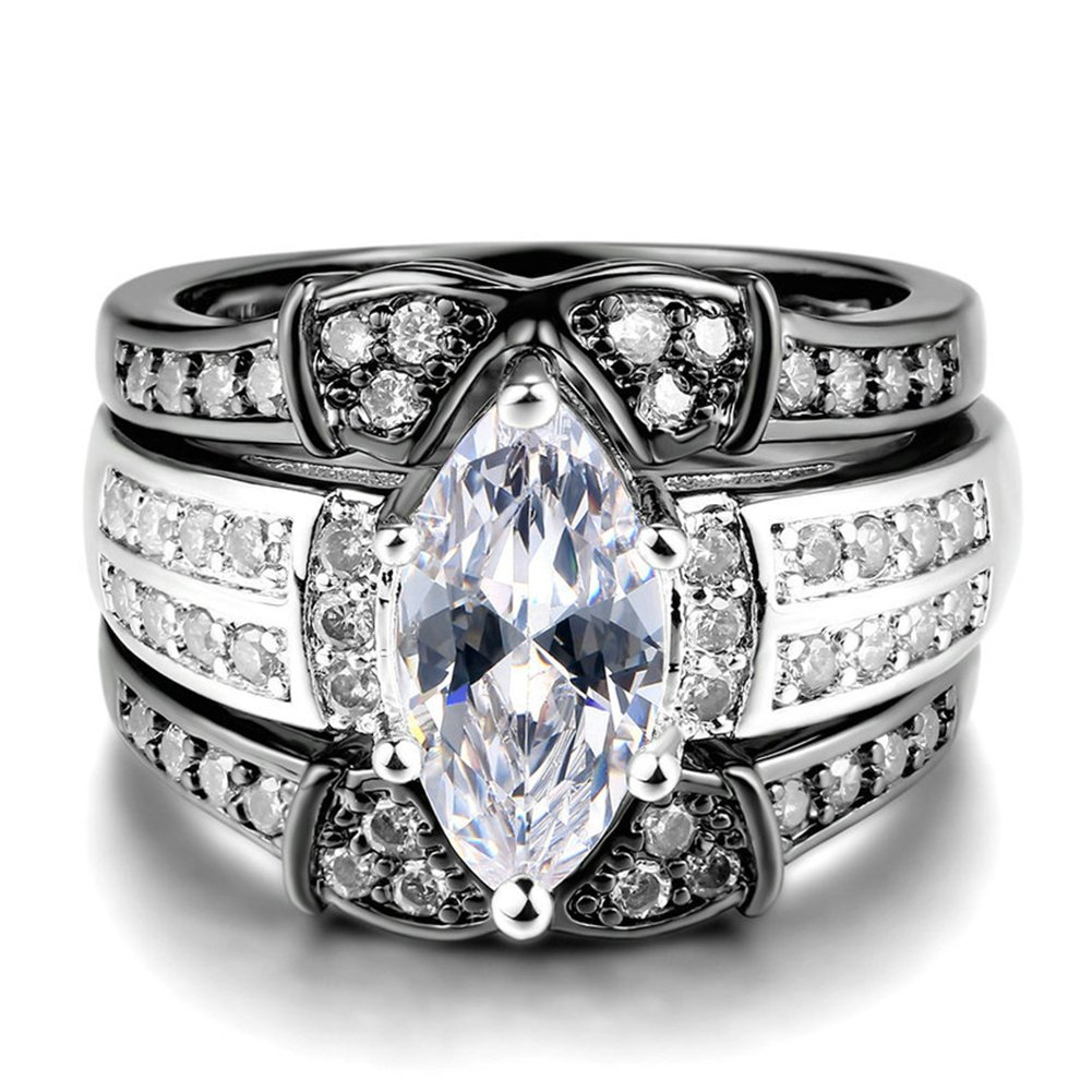 LILILEO Jewelry Luxury 3-Storey Ring High-Grade Zirconia Platinum-Plated Black And White Engagement Ring For Women's Rings