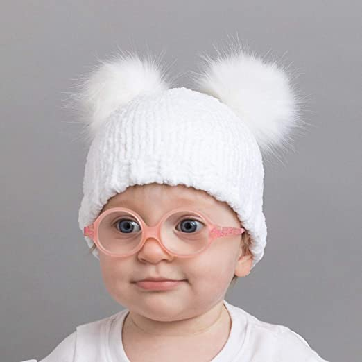 Huggalugs Baby and Toddler Girls Chenille Beanie Hat with Double Fur Pom Poms