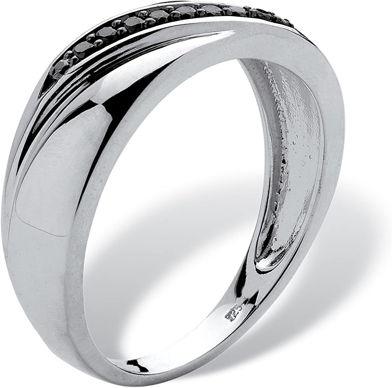 Mens Platinum over Sterling Silver Round Genuine Black Diamond Diagonal Ring 1//8 cttw, I Color, I3 Clarity
