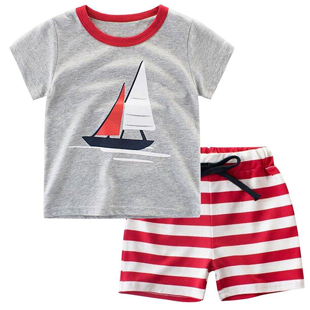 Gorgeya Kids Summer Clothes Set Baby Boys Short Sleeve Sailboat Aircraft Print T-Shirt Tops + Stripe Pants Pyjamas Set Outfits
