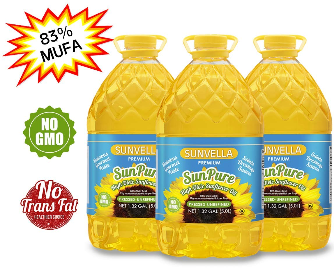SUNVELLA SunPure Non-GMO, Virgin, Cold Pressed Unrefined, High Oleic Sunflower Oil - Healthy Cooking Oil for Cooking, Baking, Deep Frying, Salads and Dressings (Pack of 3 (1.32 GAL x 3)) by SUNVELLA