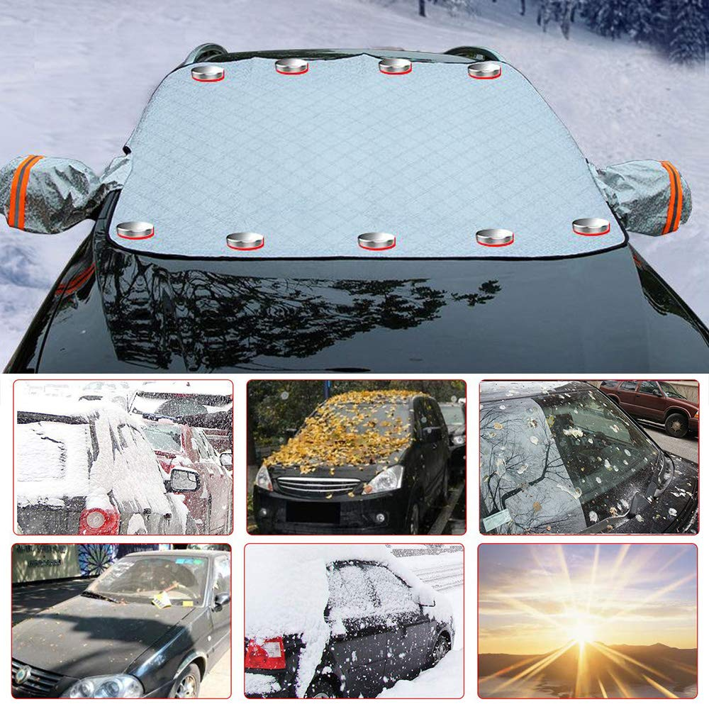 Bluelliant Car Windshield Snow Cover Waterproof Frost Guard Windshield Ice Cover Thicker Magnetic Edges Snow Protection Cover with Side Mirror Covers,Universal Fit for Most Cars 76 X59