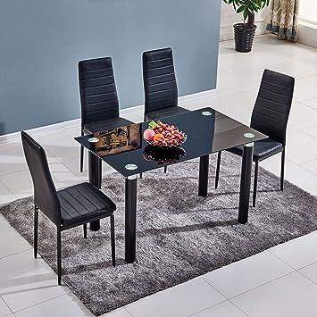 Genial Ospi® 4 X Noir Simili Cuir Chaises De Salle à Manger Avec Table De Salle