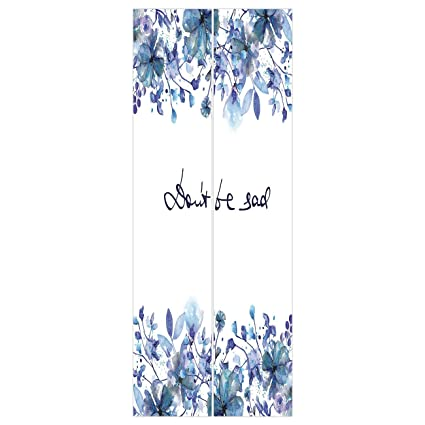 3d Door Wall Mural Wallpaper Stickers WatercolorBlue Flowers And Branches With Leaves Natural