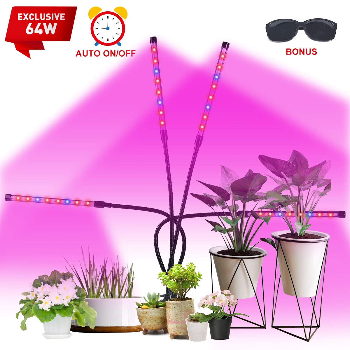 VAZILLIO Led Grow Light, Exclusive 64W 4 Heads Plant Growing Lamp Bulbs Auto ON&Off with 4/8/12 H Timer Improved Clip Thicken Gooseneck for Indoor Plants Veg and Flower