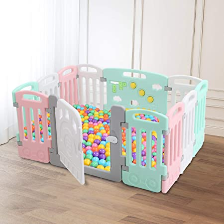 Baby Playpen Kids 12 Panels Safety Play Yard Activity Center Home Indoor Outdoor Fence
