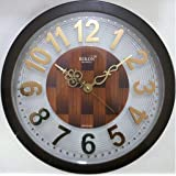 Rikon Quartz Plastic Round Shape Embossed Golden Numbers 31 Cm X 31 Cm Fancy Premium Home Decor Wall Clock For Home And Office R-97 (Brown)