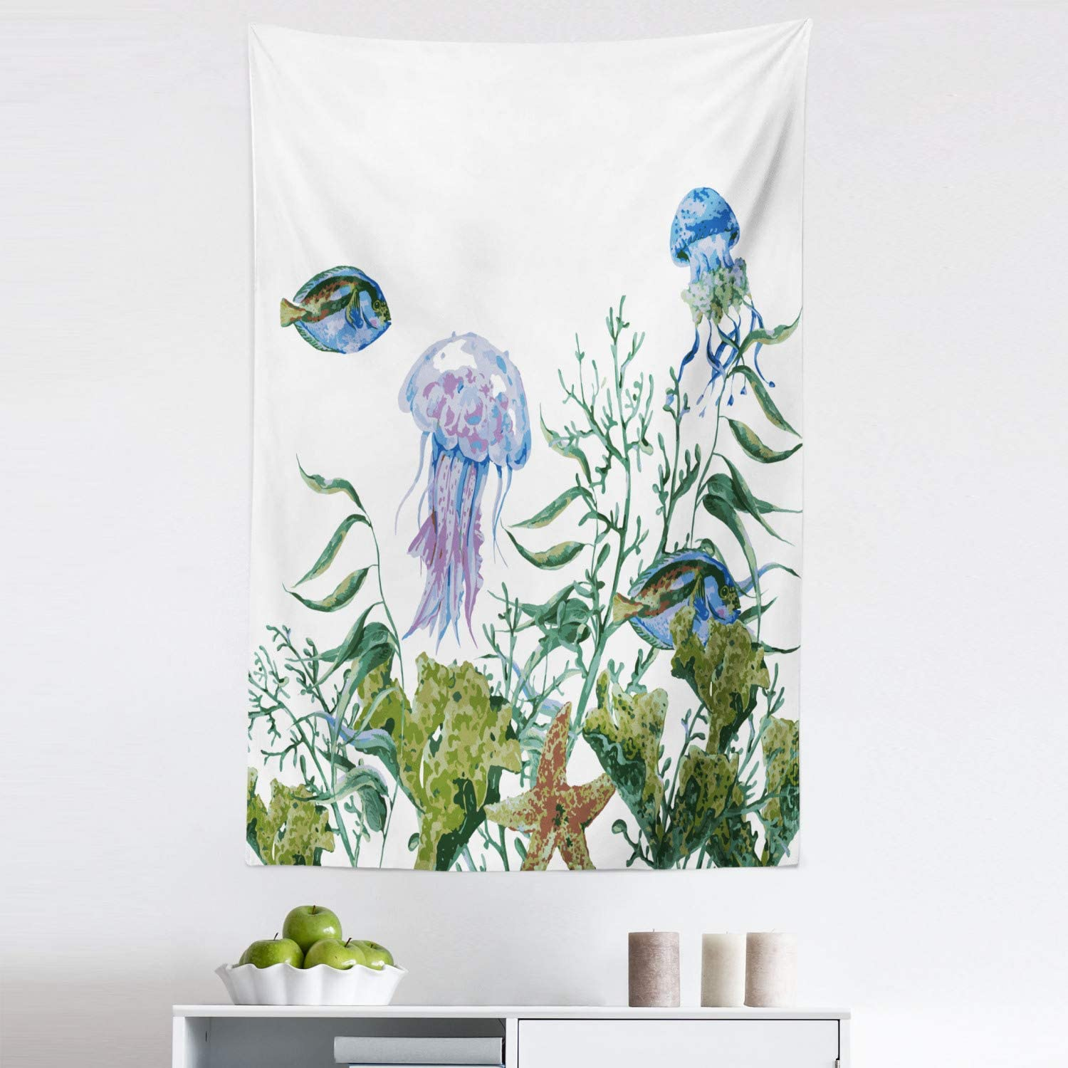 Ambesonne Ocean Tapestry, Watercolor Style Effect Sea Life Pattern with Seaweed Jellyfish and Fish, Fabric Wall Hanging Decor for Bedroom Living Room Dorm, 30