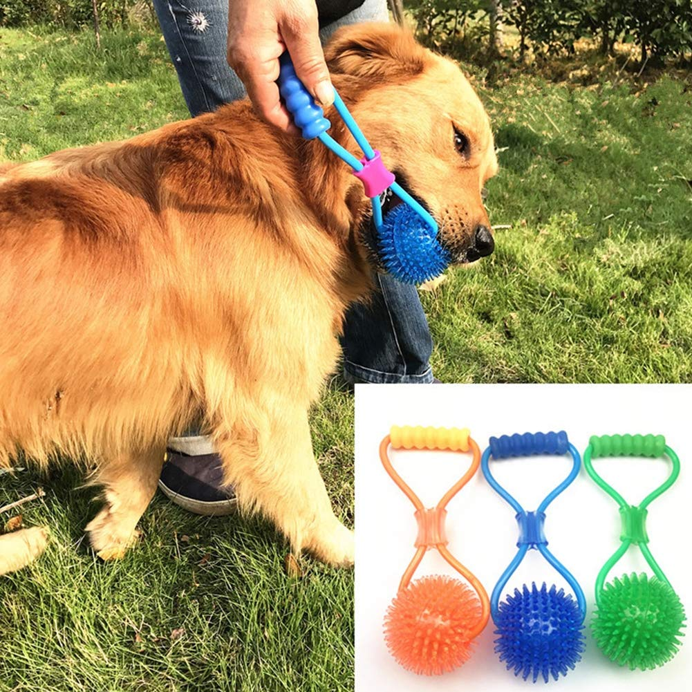 Dog Toy Squeaky Ball Interactive Thorn Ball with Elastic String Ball Grinding Dog Toy for Big Medium Small Dogs