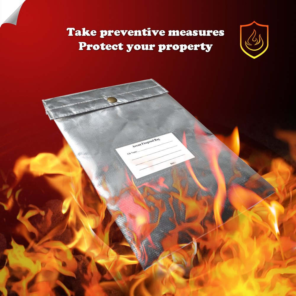Fire Resistant Protective Bag for Heavy Duty and Non-itchy Coated Fire Resistant Envelope Pouch Fireproof Money Bag for Cash//Birth//Certificate//Passport by Aoxun Fireproof Resistant Document Bag
