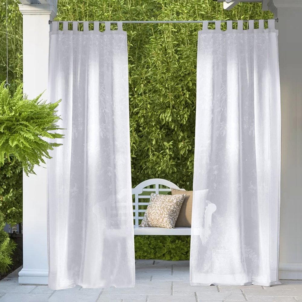 RYB HOME Linen Look Semi Sheer Curtains for Outdoor Patio/Yard, Tab Loop Top Privacy Sheer Curtains, Light Filter Volie for Porch, with 2 Free Ropes, Width 54 x Length 96 Inch, Set of 2 by RYB HOME (Image #3)