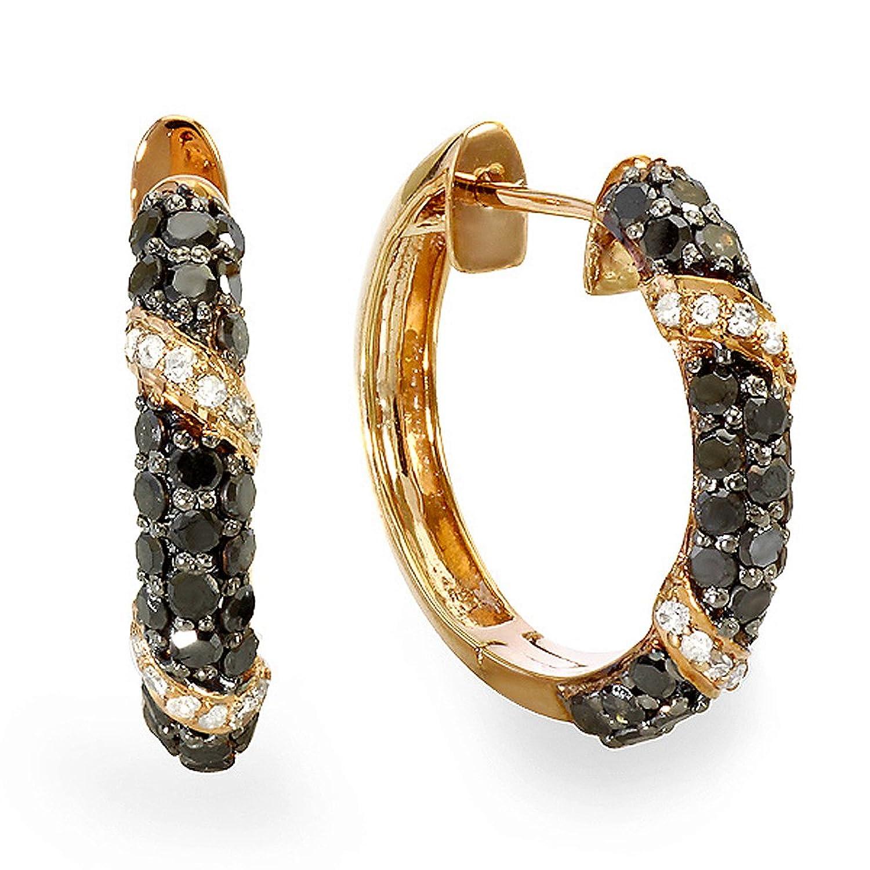1.00 Carat (ctw) Plated 18k Rose Gold Sterling Silver Ladies Black & White Diamond Hoop Earrings 1 CT
