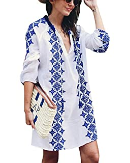118db5f222 Sanifer Women's Long Sleeve Beach Cover Up Dress Embroidered Bohemian  Beachwear Bathing Suits Cover Ups (