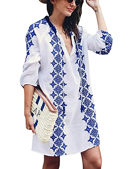f91ce6cbc1c2e Sanifer Women's Long Sleeve Beach Cover Up Dress Embroidered Bohemian  Beachwear Bathing Suits Cover Ups (