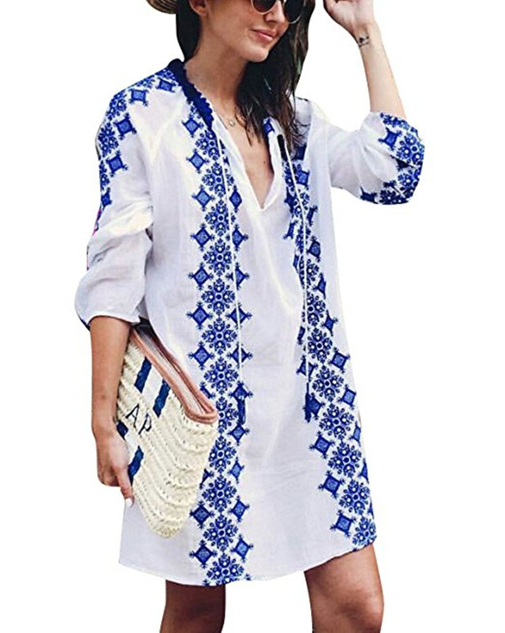 Sanifer Women's Long Sleeve Beach Cover up Dress Embroidered Bohemian Beachwear Bathing Suits Cover Ups (US S-M)