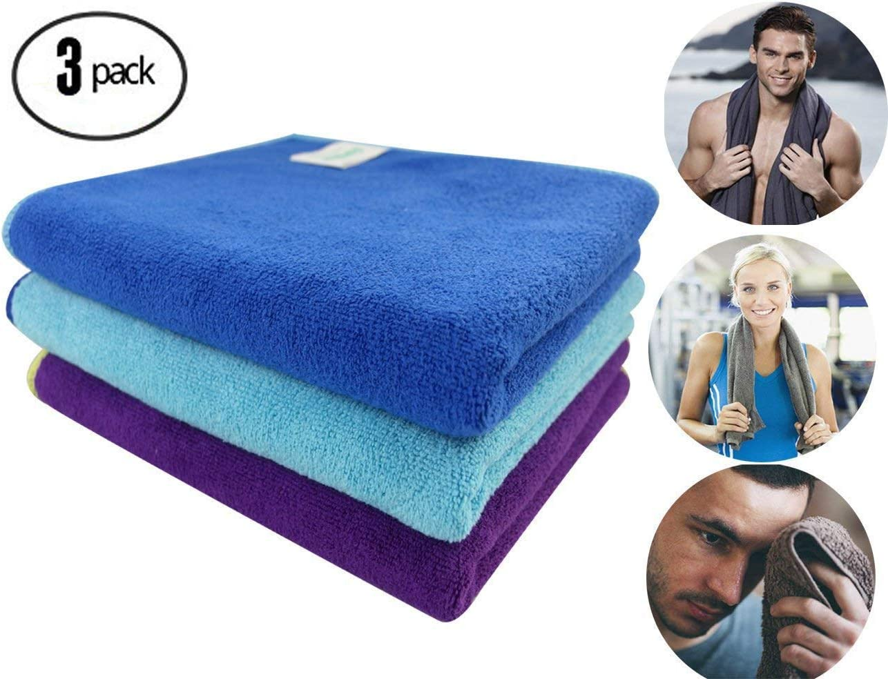 Workout Towels Sports Towel Microfiber Sweat Towels Set, Multi-Purpose Gym Towel, Fast Drying & Super Soft, for Sports, Fitness, Gym, Yoga, Travel, Camping & More 3 Pack