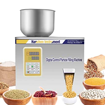 Hanchen Powder Filling Machine 1-50g Glitters Particle Weighing Filling Machine Automatic Powder Filler for Tea Seeds Grains Powder with Foot Pedal 110v