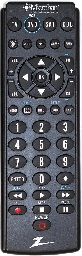 amazon com amertac zenith zb410mb microban 4 device universal rh amazon com Zenith Universal Remote Control Codes Zenith TV Remote Control Codes