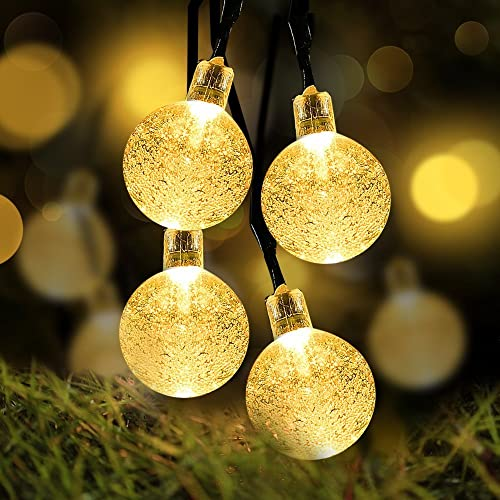 Battery Operated String Lights, LOENDE Waterproof 21FT 30 LED 8 Modes Fairy Garden Globe String Lights with Crystal Ball for Christmas Tree, Holiday, Outdoor, Indoor, Party Decor Warm White
