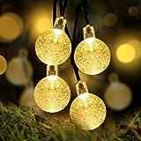 Christmas Lights Globe String Lights - LOENDE Waterproof Outdoor String Lights Warm White 8 Mode Solar Powered String Lights for Christmas Wedding Camping Lawn Garden Bedroom Party Patio Decor