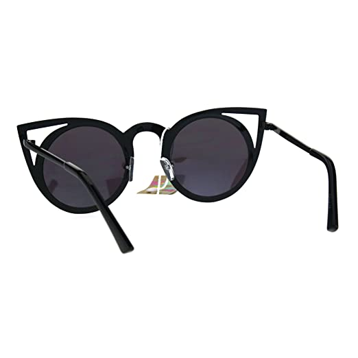 0866f7116 Amazon.com: Womens Metal Bat Shape Cat Eye Round Circle Lens Sunglasses  Black Teal: Clothing