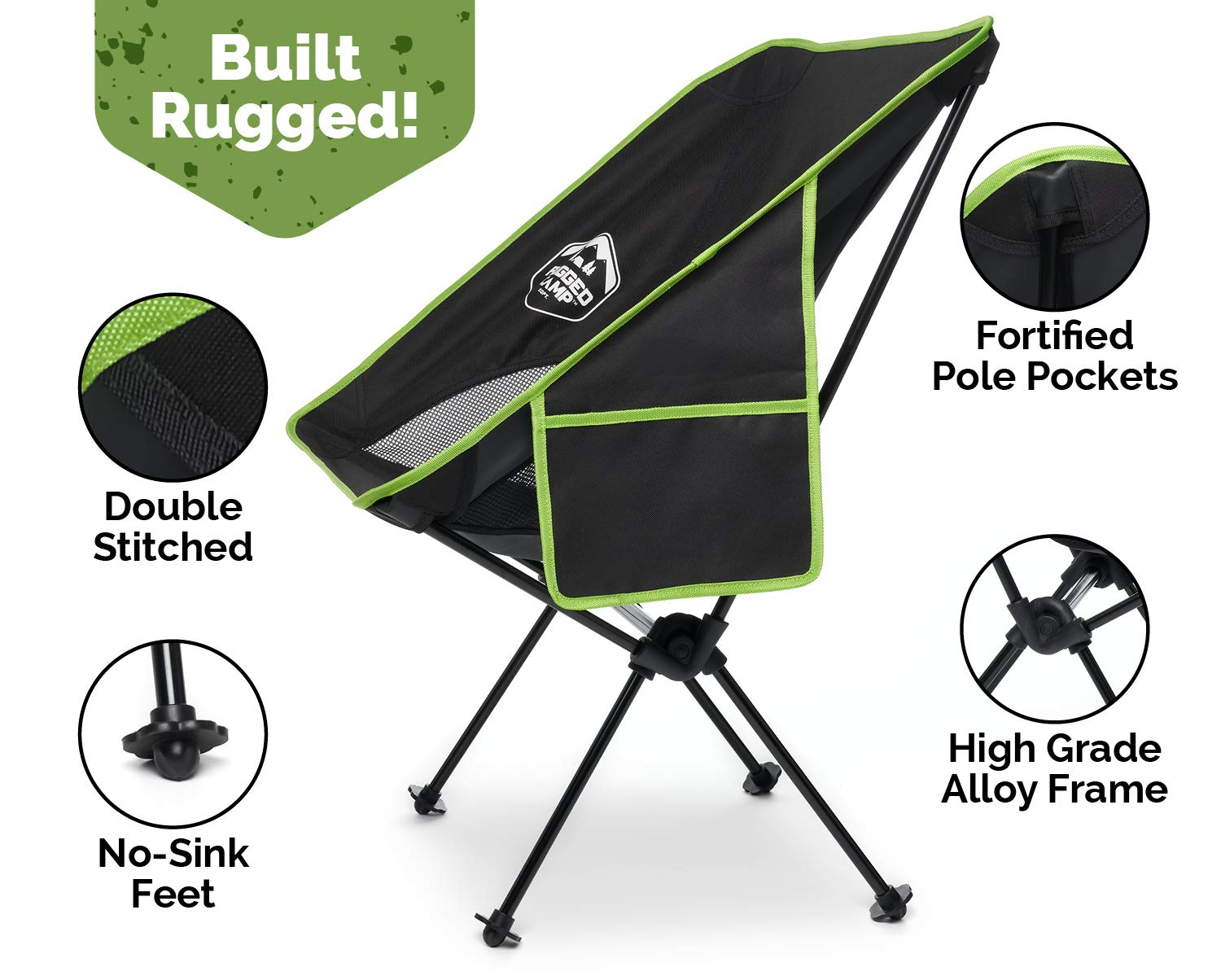 Rugged Camp Portable Folding Chair – Perfect for Camping, Beach, Sporting Events, Festivals – Camping Gear Accessory and Outdoor Folding Chair