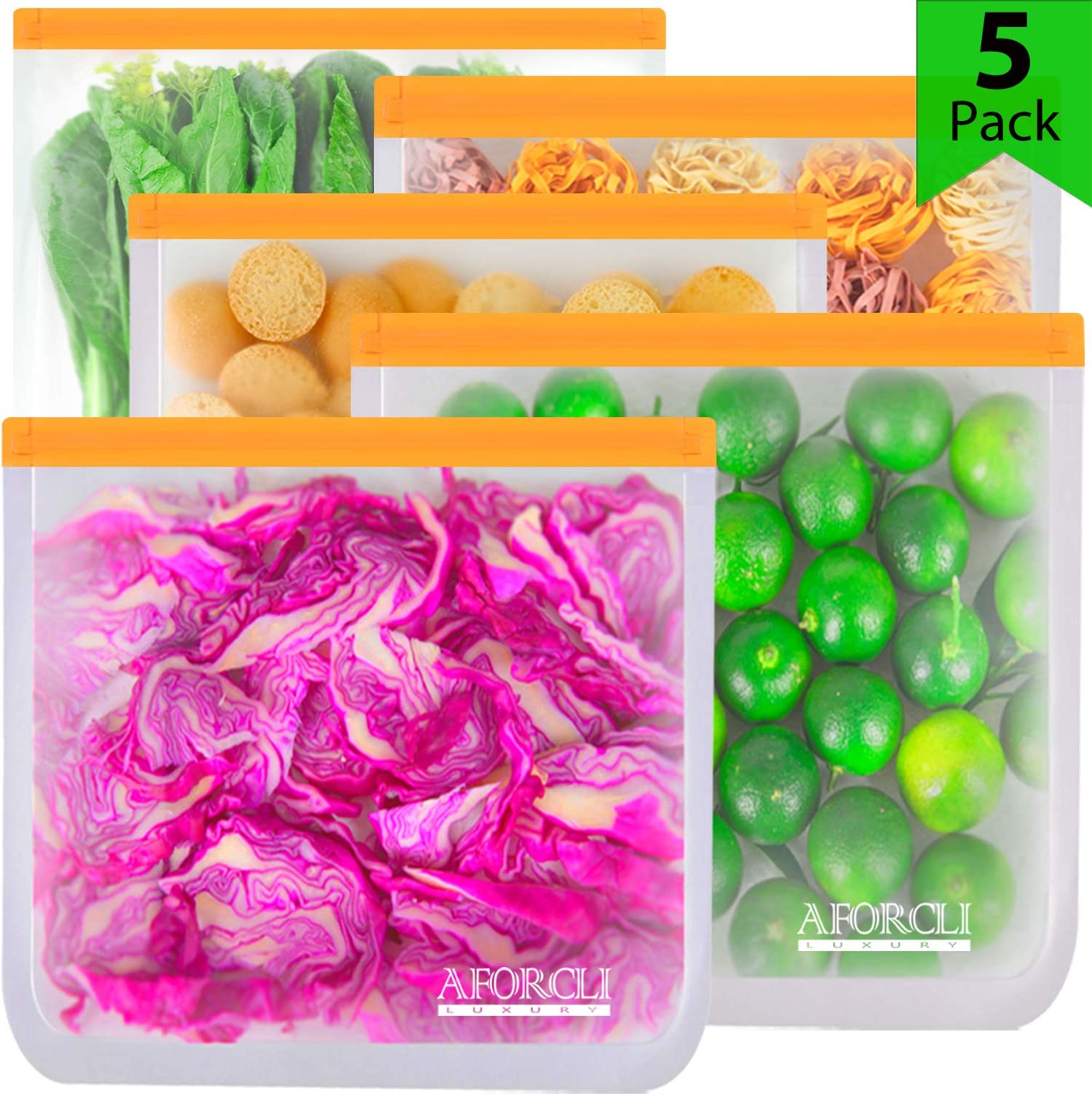 "Eco-Aforcli Reusable Gallon Storage Ziplock Bags | MORE DURABLE with BORDER 0.4"" -
