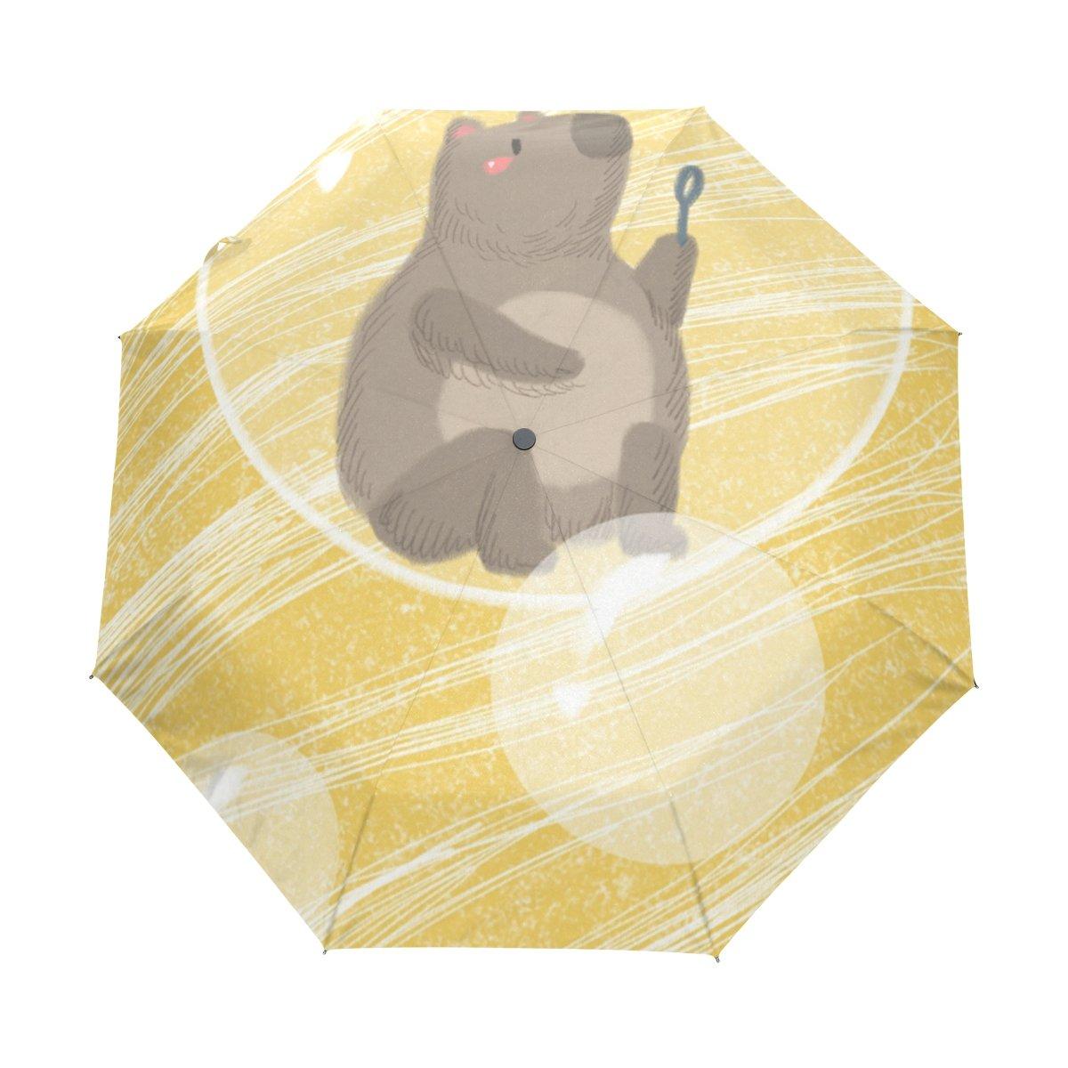 Senya Saobao防風と防雨トラベル傘with自動開いて閉じFolding Bear in the Bublesポータブル折りたたみ式太陽雨傘 B07FFSR3ZQ