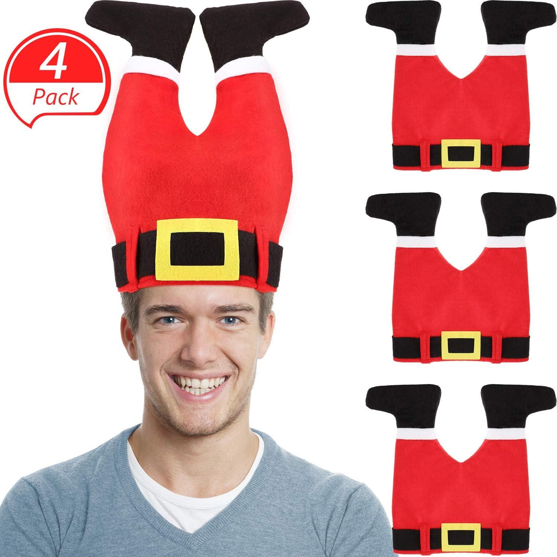 SATINIOR Sombrero de Pantalones de Papá Noel Gorro de Navidad Gorra de Pantalones de Santa Loco para Accesorios de Navidad Materiales de Fiesta (Rojo, 4 Piezas): Amazon.es: Juguetes y juegos