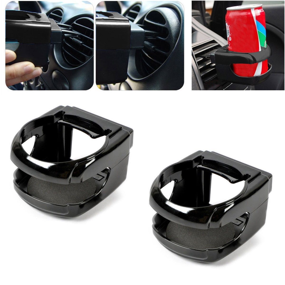2PCS Universal Auto Car Truck Air Vent Bottle Can Drink Cup Holder Bracket Mount Tray Support QEUhang