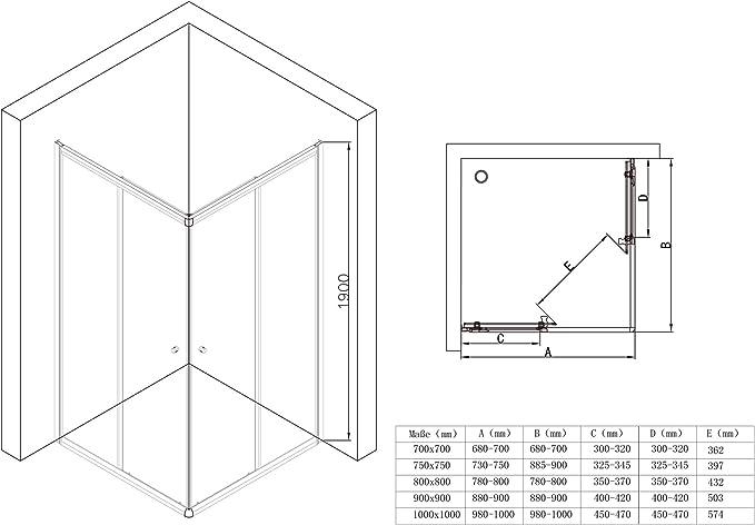 Sogood: Cabina de ducha de esquina Rav16MS 100x75x190 Mampara de ...